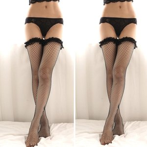 Le donne sexy della biancheria calze trasparenti a rete seta con pizzo ad alta contenere fino Calze Calze Nero Bianco Rosso