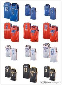Le donne della gioventù uominiOklahomaCittàtuono2 Shai Gilgeous-Alexander 3 ChrisPaul 12 Steven Adams personalizzato Basketball Maglie