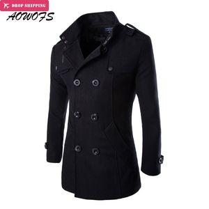 AOWOFS Kış Erkekler Yün Bezelye Coats Siyah Erkek Palto Kısa Hendek Coats Erkek Çift Breasted Yün Marka Giyim Karışımları