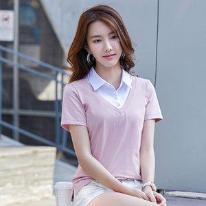 BabYoung verano nueva camisa de manga corta mujeres falso dos mujeres Slim Turn Down Collar camisa