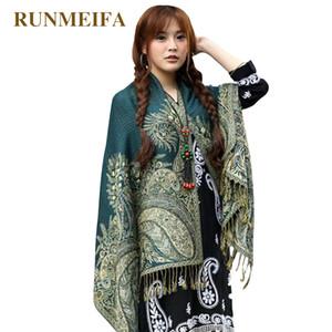[RUNMEIFA] Mulheres Elegante Floral Reversível Paisley Pashmina Xaile Envoltório Cachecol de algodão Étnico estilo lenço para meninas Frete Grátis