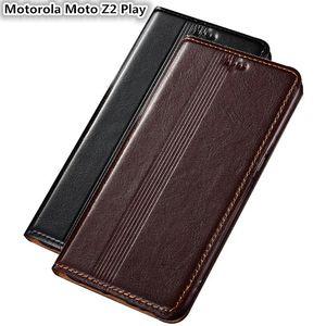 QX14 funda de cuero genuino para Motorola Moto Z2 Play Funda magnética para Motorola Moto Z2 Play Funda con funda para teléfono