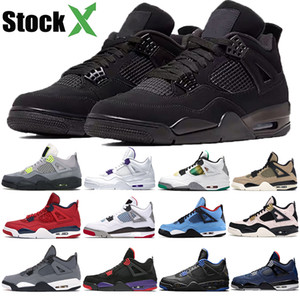 Nike Air Jordan 4 Retro Bred 2019 What The Basketball Shoes 30. Jahrestag Laserschlick Red Splatter Singles Day Lightning Reines Geld Oreo Men 4 Sneakers 40-47