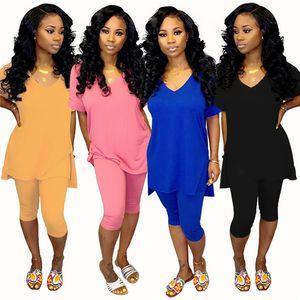 Womens solid chándal conjuntos de 2 piezas diseñador de ropa de verano sexy con cuello en v camiseta dividida leggings cortos ajustados trajes de fitness informal 895