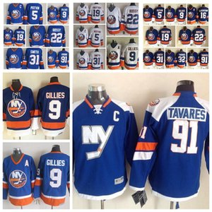 Moda Retro New York Islanders Jersey 19 Bryan Trottier 91 John Tavares 5 Denis Potvin 22 Mike Bossy Blu Mens cucito pullover del hokey
