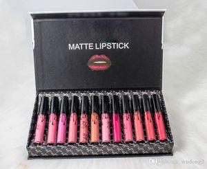 el maquillaje 12colors al por mayor caliente 12pcs Mate líquido del lápiz labial negro Conjunto de proa / set brillo de labios de alta calidad de DHL