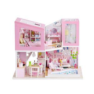 large house wooden furniture villa kitchen diy big doll houses miniature dollhouse kit maison de poupee kids gift MX200414