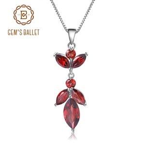 Балет драгоценного камня 2.94 Ct натуральный красный гранат чистый 925 стерлингового серебра цветок кулон ожерелье для женщин мода свадьба изысканные ювелирные изделия