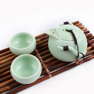 3Pcs Set Ceramic Chinese Gongfu Tea Set Side Handle Teapot & Teacups Mini Travel Portable Tea Sets 3color GGA2932