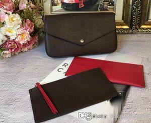 Hot Fashion Classic Frauen Designer Tasche Print Blumen 3 in 1 Kette Tasche aus echtem Leder Card Wallet Crossbody Geldbörse Schulter Messenger Wallets