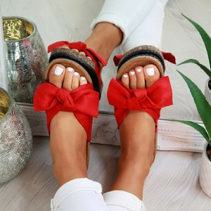 Summer Womans Slip On Sliders Bow Flatform Mule Sandals Comfy Plus Sizes Indoor Outdoor Flip-flops Beach Shoes