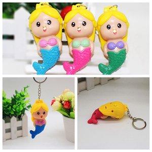 LED créative sirène Doll Lighted légère Keychain promotionnel Sacs cadeaux Ornements voiture lumineux Sounding Keyring DH0539 T03