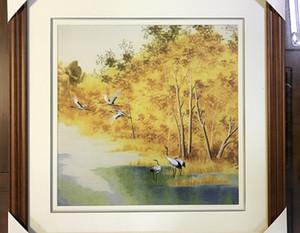 수제 예술 공예 100 % 뽕나무 실크 완료 프레임, 웨딩 선물, 자작 나무 숲, 35 * 35cm 포함하지 Suzhou 자 수를 완료