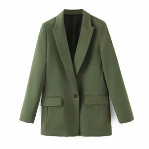 Women's jacket autumn new style elegant solid color suit collar one buckle waist long sleeve temperament suit jacket female