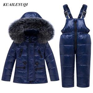 -30 degrés Russie 2019 nouvelle hiver chaud canard bébé vers le bas pour enfants manteau veste parka véritable col de fourrure enfants Ski Set layette T191006