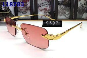 جديدة قرن الجاموس النظارات بدون شفة النظارات الشمسية للرجال النسائية إطارات معدنية الأزياء الذهب sporst الفهد شمسية هلالية الحمراء تأتي مع صناديق