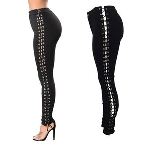 Women Side Lace up Pencil Tight Pant Sexy Cross Bandage Trousers Skinny Jeans High Quality Pocket Pants cargo pants jeans femme
