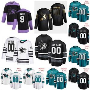 Costumbre San Jose Sharks 2019 Negro tercer Jersey Cualquier Número Nombre hombres mujeres jóvenes niño trullo blanco verde de la vendimia quemaduras Karlsson Kane Pavelski