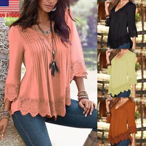de nuevo de la manera de los EEUU Stock mujeres sueltan el cordón del V-cuello jersey Tops de encaje T camisas de la gasa de primavera y otoño