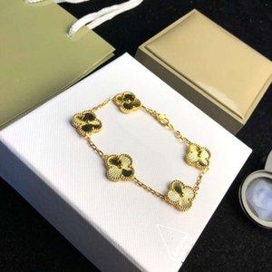 Vintage Alhambra cobre com 14k charme jóias flor banhado a ouro Cinco trevo de quatro folhas pulseira para mulheres
