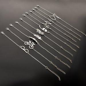 23 Sttyles Argent Cheville Amour Hibou Plume Menottes Lunettes De Soleil Bracelet Argent Charme Bracelet Bijoux Pied Boutique En Gros