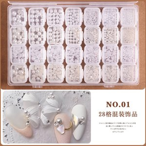 1Box Nail Decorations 3D Shiny Pearl Shell Slice Flake Mix Metal Frame Nail Rivets Shiny Charm Strass Manicure Accessories