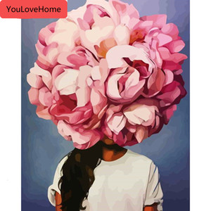 숫자 꽃 소녀 키트 그리기 캔버스 지에 handpainted 그림 사진 홈 장식 선물 예술 DIY의 벽 아트에 의해 유화
