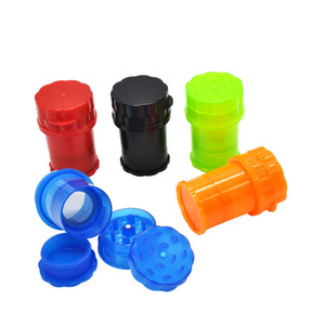 Grande Jar Med Container 4 parti Plastica Grinder Secure Twist System System Smerigliatrici Pepe Pepper Sicurezza Secure Twist Lock System Tabacco Smoking Herb Muller