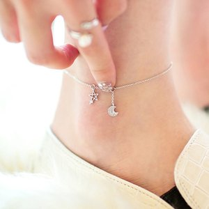 Silber hohe Qualität glänzend Kristallstern Mond ladies`anklets Schmuck Geschenk-Tropfen Frauen Fußkettchen Mädchen Wholesale freies Verschiffen Versand