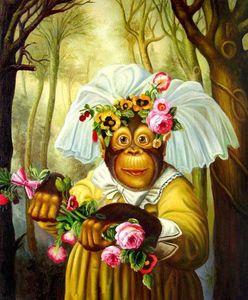 -.e-03174 animal singe moderne abstrait peint à la main Artisanats Art Peinture à l'huile HD Imprimer Art Peinture à l'huile sur toile mur Photos
