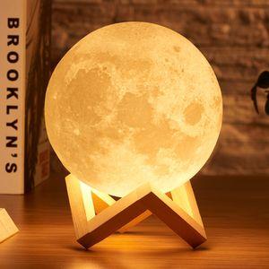 Rambery moon lamp 3D print night light Recarregável 3 cores Tap Control lamp lamp 16 Cores Mudam Remoto LED presente da luz da lua