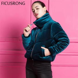 Mode Samt Baumwolle Gepolsterte Grundlegende Jacke Mantel Warm Blau Parkas Jacken Weibliche Herbst Winter Jacke Frauen Oberbekleidung Ficusrong Y190826
