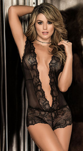 Verão Mulheres Sexy Lingerie See-through Lace profunda V-Neck Micro fina Bodysuits oco Out malha Catsuit Erotic Sex Costume