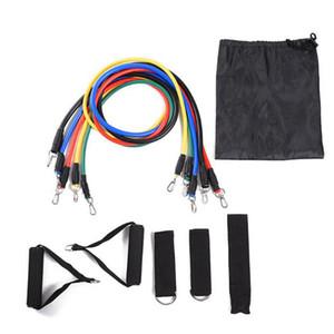 11pcs en 1 sistema de resistencia de la aptitud bandas de ejercicio Tubos formación práctica elástico tire de la cuerda de la cuerda Yoga Pilates Workout Cordajes libre de DHL