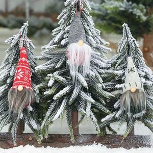 Новый год шариковая шляпа без лица кукла кулон декоративный олень 2020 Рождество безликий Гном Санта Рождество дерево висит