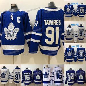 2018 Nouveau 91 John Tavares Toronto Maple Leafs Jersey 16 Mitch Marner 34 Auston Matthews Hommes Femmes Jeunes Maillots de hockey Lady Blue White