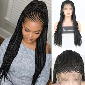Long Box Braids Braided Wigs Heat Resistant Wig Glueless Synthetic Lace Front Wig for Women with Baby Hair Cosplay Wigs