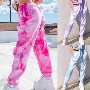 2020 Pink Tie Dye Drucken Baggy Frauen Jogger Jogginghose beiläufige lose elastische hohe Taille Harem Pants Female Hip Hop Street