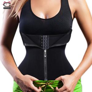 새로운 허리 트레이너 원활한 벨트 모래 시계 지퍼 코르셋 여성을위한 체중 감소 뜨거운 몸 셰이 퍼 모델링 스트랩 슬리밍 Shapewear Y19070201