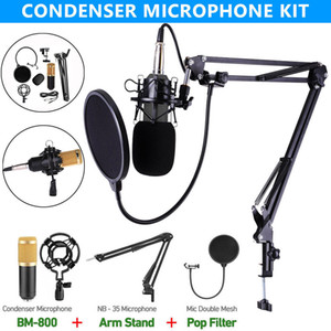 Professionelles BM 800 Kondensatormikrofon für Computer Audio Karaoke Mikrofon Studioaufnahme Mikrofone Sets Slivery Blue Black Rosa