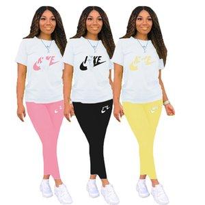 Women Brand Tracksuit casual 2 piece sets sports sweatsuit letter jogger suit short sleeve t shirt+leggings summer clothes slim outfits 3437