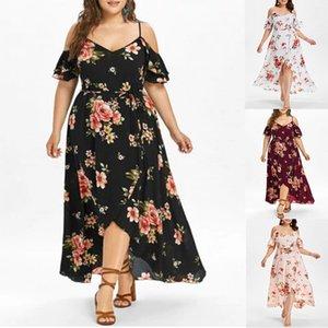 Плюс размер 5xl платья лета женщин вскользь с коротким рукавом холодной плечо сыпучих платье Boho цветочные печати Женщины Длинные платья