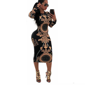 Nouveau Femmes O-cou Casual Imprimer manches longues moulante Party Robe longue Sexy Ladies Striped Clubwear Robes