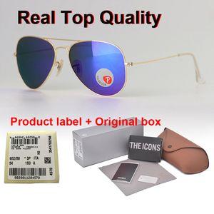 Alta calidad polarizadas gafas de sol piloto Hombres Mujeres 58 / 62mm marca con UV400 Gafas de conducción de los vidrios de la lente de plástico con Cases y Box