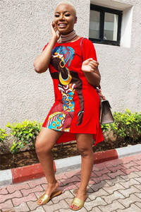 Slip African Girl Print Kleid Multicolor Optional Womens Casual Dress Set Kopf Rundhals T-Shirt Kleid