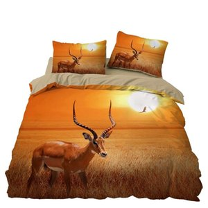Elk Antlers della camera da letto Bedding Set Grassland sfondo di copertura in microfibra 1PC Duvet con federe No Consolatore Drop Ship
