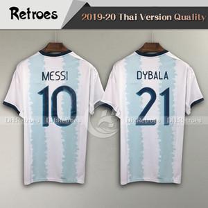 2019 كوبا أمريكا الأرجنتين الرئيسية أزرق أبيض لكرة القدم جيرسي 19 20 # 10 ميسي لكرة القدم قميص رقم 9 AGUERO DYBALA قميص قصير الأكمام لكرة القدم