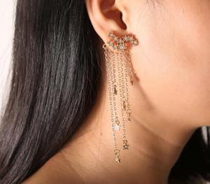 Long Fashion Jewelry Shining Stars Nappe Orecchini delicati posteriori montati