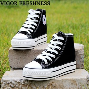 Vigor Freshness Women Canvas Shoes Increase Internal Spring Woman Vulcanized Sneakers Students Autumn Tennis Shoes 6cm Wy345 MX190723