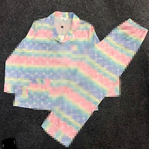 Yeni Lüks Renk Harf Kadınlar Pijama Moda Mektupları Baskılı Uzun kollu pijamalar İpek Hırka Gömlek Kızlar Rahat Ev Giyim